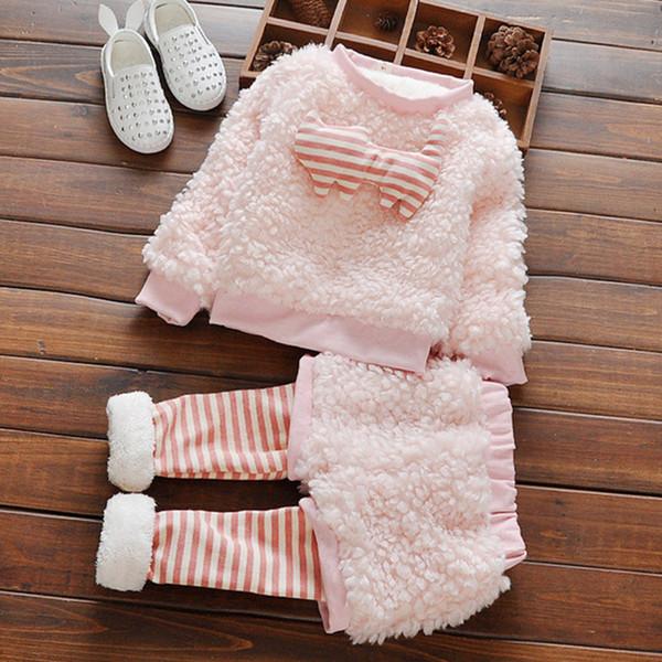2016 Sevimli Kürklü Kız Giysileri Çizgili Bebek Çocuk Spor Giyim Seti Çocuk Takım Elbise 0-4 yaş için