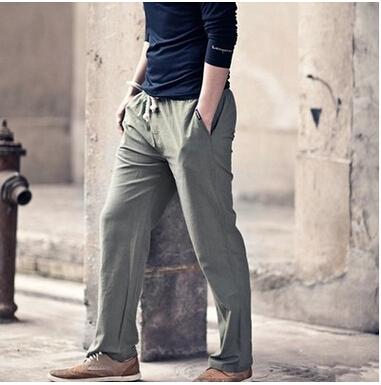 0a09cc3730c Wholesale-High quality Mens Linen Pants 2016 Summer Style Joggers Solid  Color Casual Loose Cotton and Linen sweatpants Trousers For Men