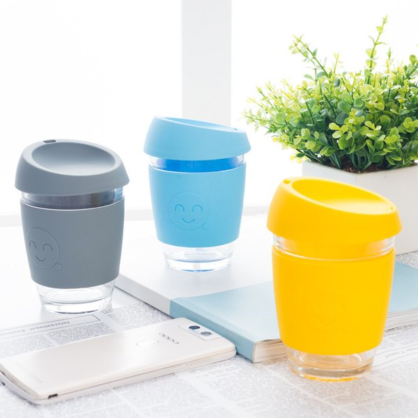 Candy Color Glass Multi Function Anti Scald High Quality Silicone Case With Cover Cup Fashion Gift For Kids Mug 13cd J R