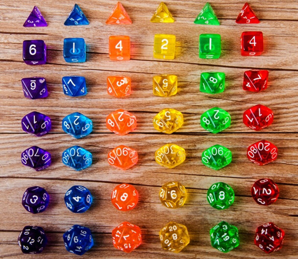 Dadi poliedrici Set Trasparente 1 pz * D4 / 6/8/12/20 2 pezzi * D10 (00-90,0-9) Dungeons Dragons Giochi di RPG Giocattoli 7pcs / set # D8