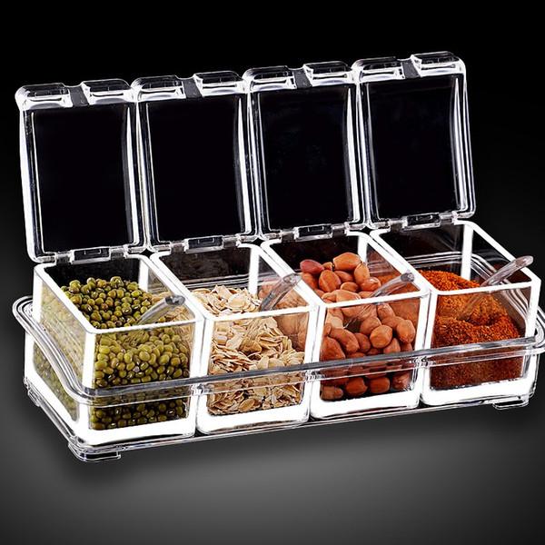 Acrylic Seasoning Box Spice Jar Set Condiment Cruet Bottle 4-Piece Condiment Pot Kitchen Supplies