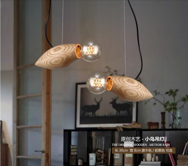 Creative Design Wood Led Hanging Light Mango Pendant Lights Fixture E27 Chandeliers For Restaurant Bar Dining Room Decoration Track Lighting Pendants