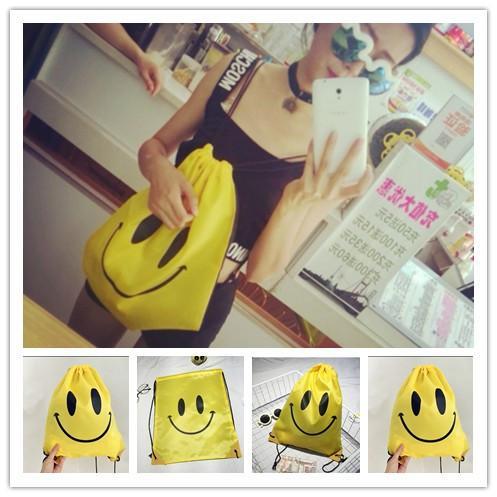 best selling 1000pcs Cute Emoji Drawstring Bags for Women Mens Children Cartoon Unisex Emoji Backpacks Fashion Smile Printed Shopping bags EMJ025