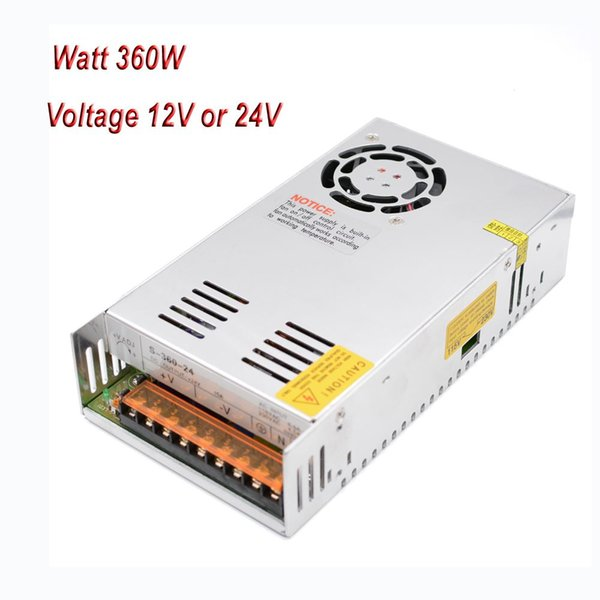 Freeshipping Wholesale 110V/220V Switching Power Supply 360 Watt 24V/15A 12V/30A for Reprap Prusa i3 Kossel 3D Printer Power Source