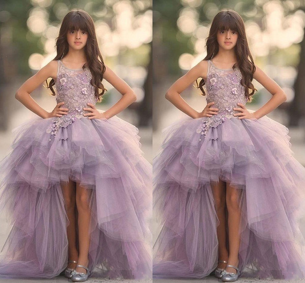 2018 New Lavender High Low Girls Pageant Gowns Lace Applique Sleeveless Flower Girl Dresses For Wedding Tulle Puffy Kids Communion Dresses