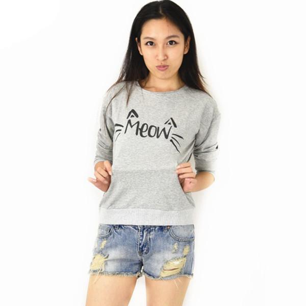 Neue Pullover Hoody Frauen Übergroße Plus Size Cat Letters Print Fleeve Emoji Sweatshirt Schwarz Grau XL