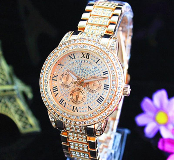 best selling Fashion Watches michael Quartz Watch Casual Full Steel Dial Style woman All over the sky stars Crystal Diamond Rome Word Dial Style Watches