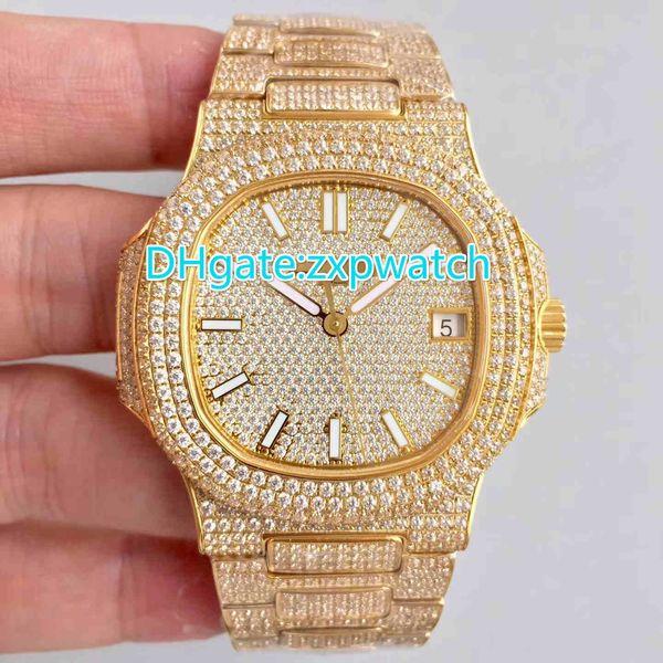 Los raperos de hip hop totalmente congelados miran las modas automáticos del mejor reloj de pulsera de lujo para hombres, relojes de acero inoxidable, diamantes de 40 mm.