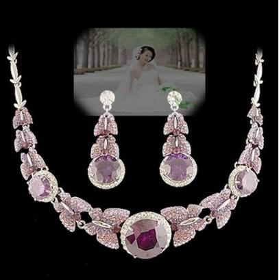 wonderful purple color diamond crystal butterfly wedding set necklace earings (spwhy)