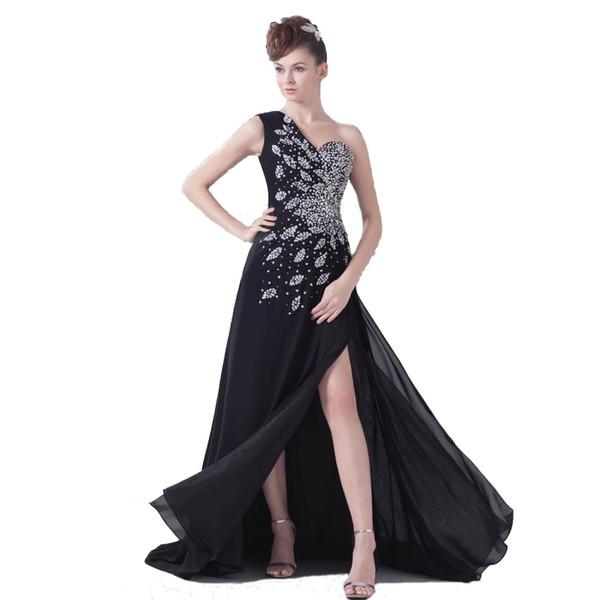 Büyüleyici Tasarım Kadınlar Halı Elbise Akşam Siyah Şifon Cazip Boncuklu Uzun Elbisesi ile bir Bölünmüş Moda 2019 Ücretsiz Kargo