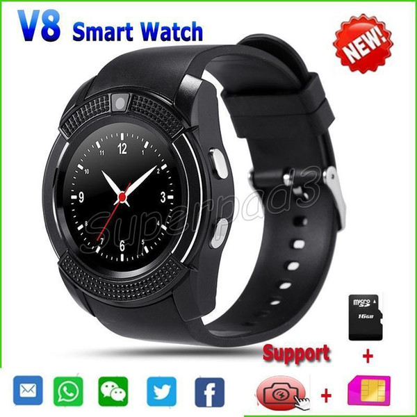 V8 Smartwatch Clock With SIM TF Card Slot Bluetooth For Apple iPhone Android Phone GSM Watch 0.3MP Camera Web Browsing Sleep Tracker