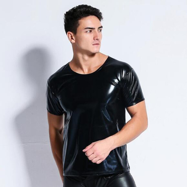 latex men sexy Faux leather t shirts Male fashion Undershirts Men black Tees tight shirts Gay Funny corset Dancewear lingerie