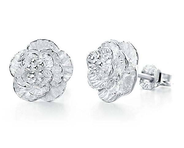 100pcs Free Shipping cheap stud earrings women earring fashion jewelry 925 sterling silver Female romantic and elegant ear rings luxury