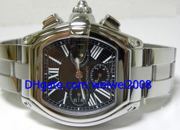 Venda por atacado - Luxo Estilo De Aço Inoxidável Pulseira XL quartzo Mens Watch Men Sports Relógios De Pulso Mostrador Preto