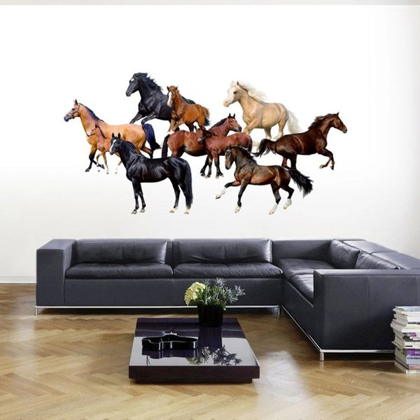 Wholesale New Modern 3D Wallpaper Horse Luxury Creative Bedroom Living Room TV background Wall Stickers free shipping