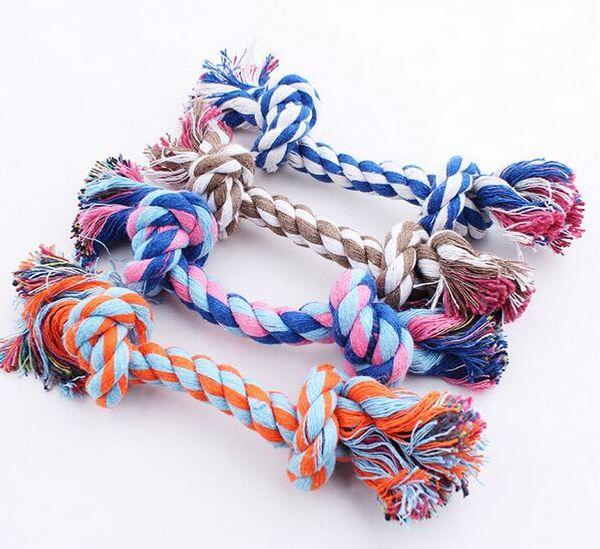 Mascotas perros para mascotas suministros Pet Dog Puppy Cotton Chew Nudo Toy Durable Trenzado Bone Rope 16CM herramienta divertida