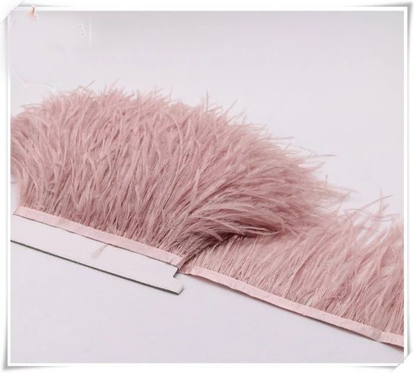 Wholesale 10yards/lot Dust pink 5-6 inch in width ostrich feather trimming fringe for dress sewing crafts skrit supply