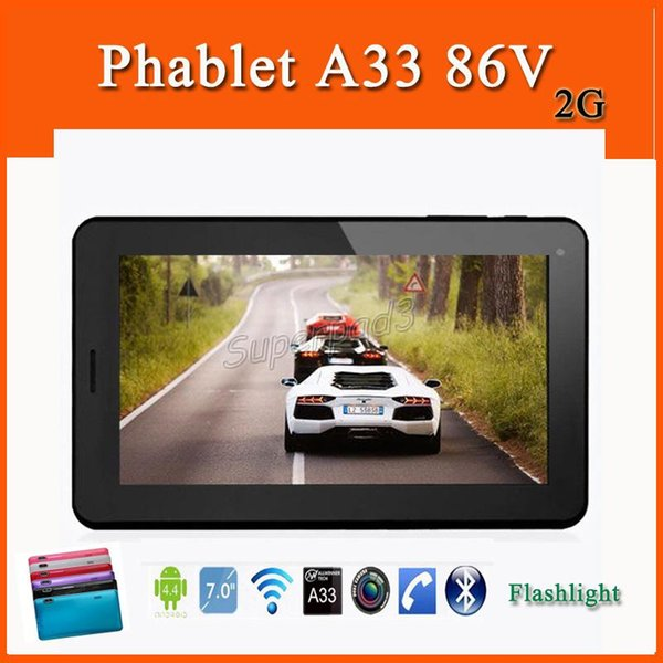 Quad Core Android 4.4 ALLwinner A33 Tablet PC 7 Inch 86V 2G GSM Unlocked Phone Call Phablet Dual Camera Flashlight Bluetooth Wifi