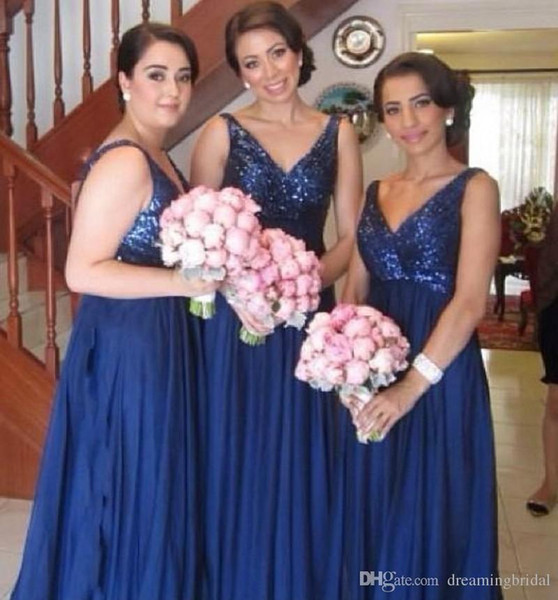 Cheap Dark Blue Long Bridesmaid Dresses Deep V Neck Sleeveless Chiffon Sequins Bridal Dresses For Wedding Gowns Party Dresses