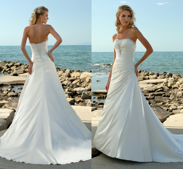 Discount 2016 White Ivory Satin Wedding Dresses A Line Strapless ...