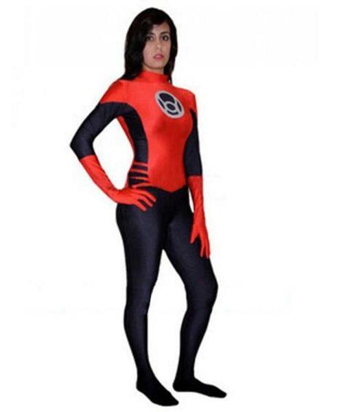 Red Lanterns Spandex Superhero Cosplay Halloween Costume Red Lantern Corps Costume Adults Kids Zentai Catsuit