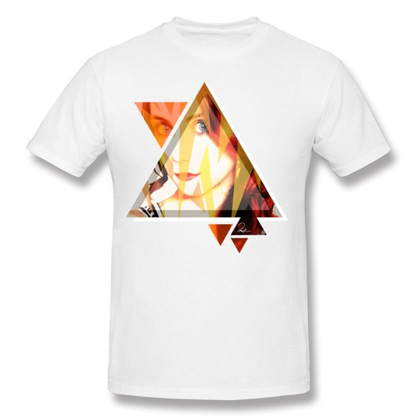 Geometric print men's t-shirt art spliced portrait painting printed tshirts for man summer white tops breathable Orange Fragments