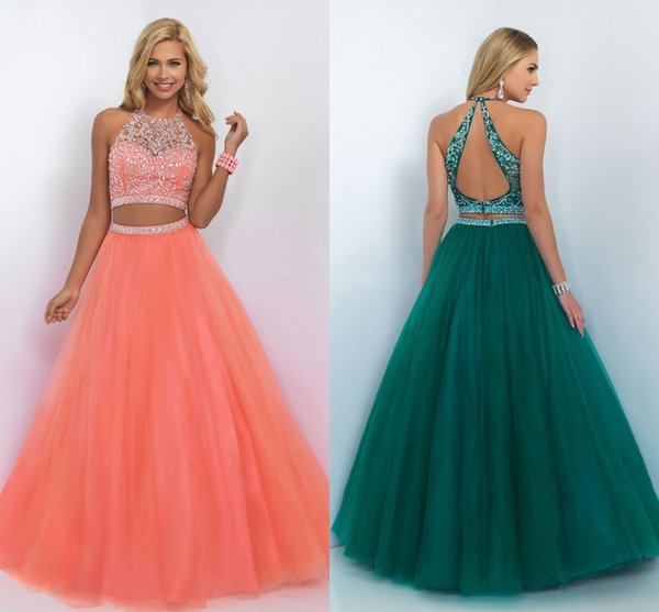 Prom Dresses Two Pieces Ball Gown Jewel Neckline Backless Long Party ...
