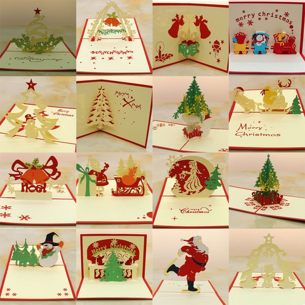 Santa Claus Handmade Kirigami Origami 3D Pop UP Greeting Cards Invitation Postcard For Birthday Christmas Party Gift free shipping