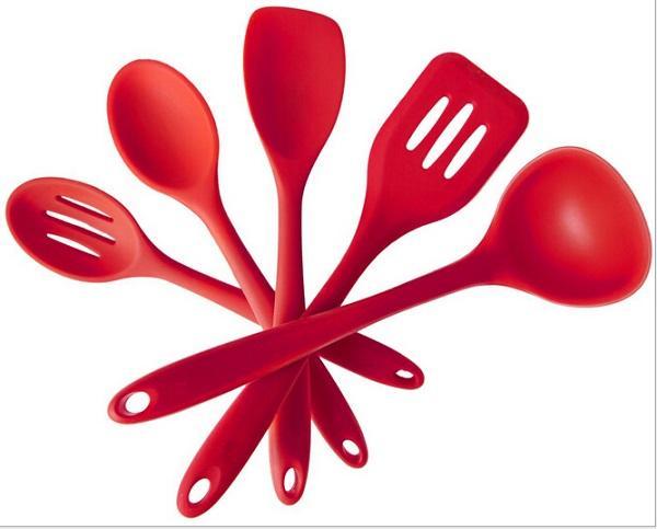 Red Silicone Resistente Ao Calor Ferramentas De Cozinha FDA Aprovado Utensílios De Cozinha Gadget Ferramenta De Uso Em Sopa, Panelas De Guisado, Forno, Forno De Microondas, Frigideiras