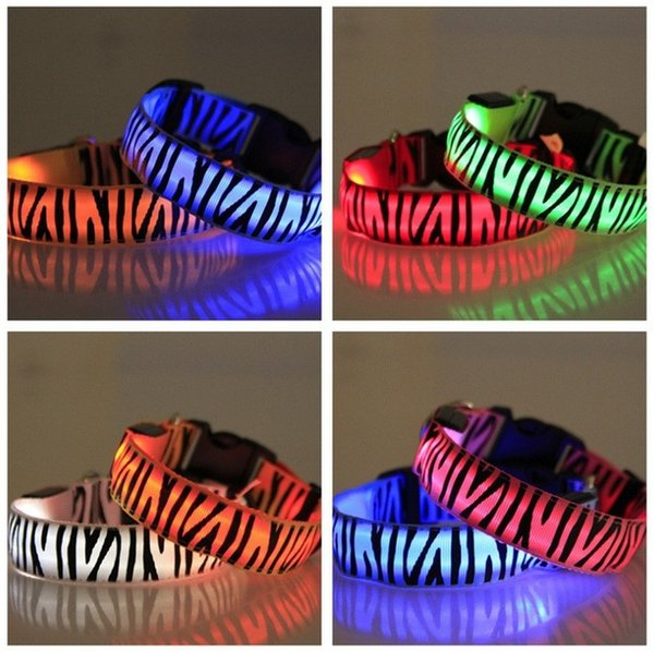 Zebra Nylon LED Light Pet Dog Collars Flash Glow in Night Safety Collar for Dogs Pet Accessories