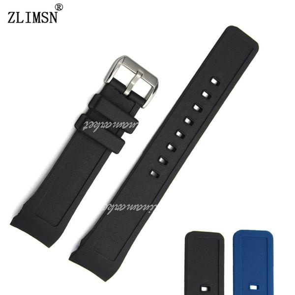 ZLIMSN Correa Para Hombre Negro Azul Extremo Curvo Correa de Silicona Reloj Correa Correa de Metal Pin Hebilla Relojes Hombre 2016 21mm