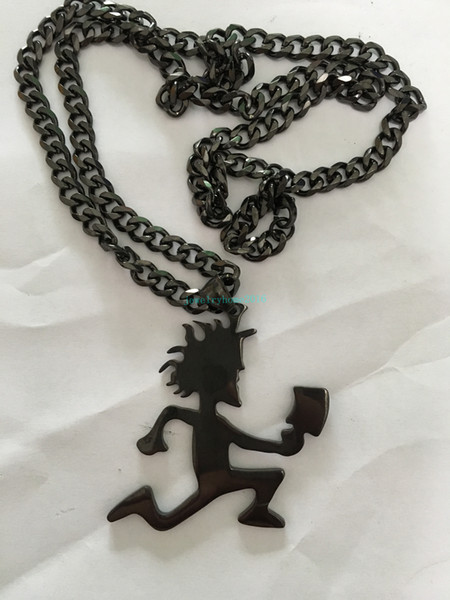 "Punk Design Best Gifts Black ICP HATCHETMAN 2"" Boy High Polished Stainless Steel pendant w/matching 5mm cuban chain"