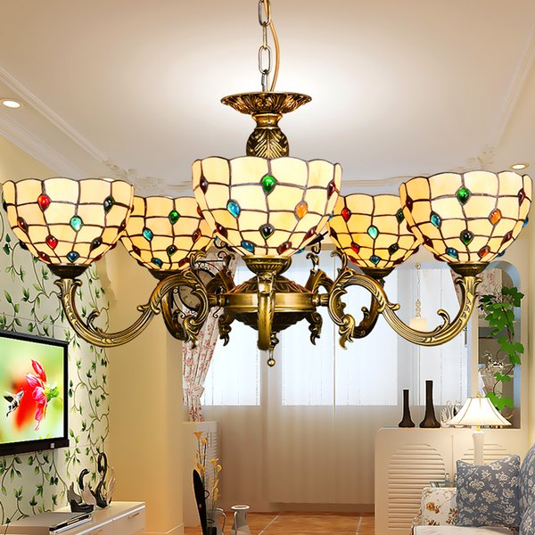 Tiffany Chandelier Stained Glass Pendant Lamps Art Dining Room Lights Hand Made Chain Living