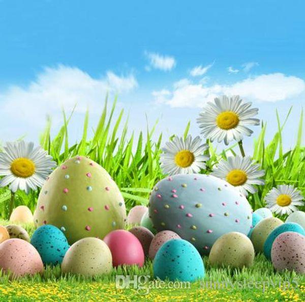 Easter Eggs Green Grass Children Fotografia Backgrounds Photo Studio Props 5X7ft Vinyl Cloth Photography Backdrops