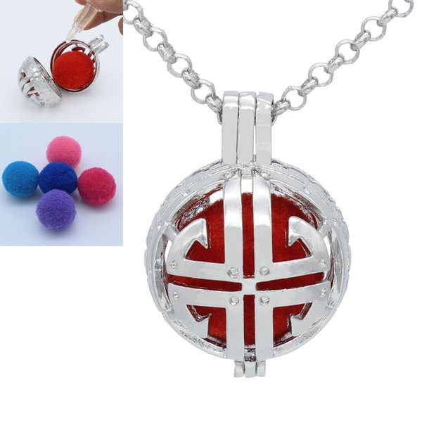 Silver Tone Cross Hollow Floating Locket Essential Oil Aromatherapy Diffuser Openable Pendant Chain Necklace Jewelry Charms Gift