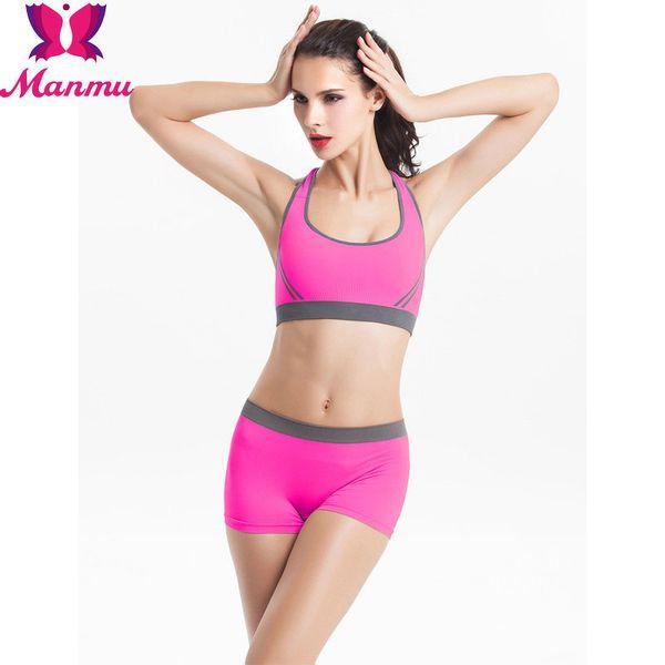 top popular Wholesale-Women's Fitness Workout Seamless Padded Sports Bra Set, Sports Bra + Shorts Set. 2021