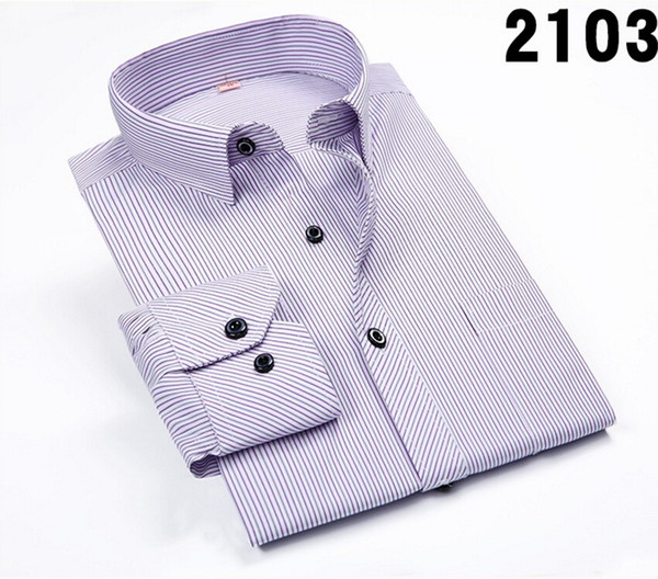 Wholesale-2016 New Fashion Men Shirts Male Striped Formal Dress Shirt Long Sleeve Mens Brand Casual Shirts Plus Big Size US Size 4XL