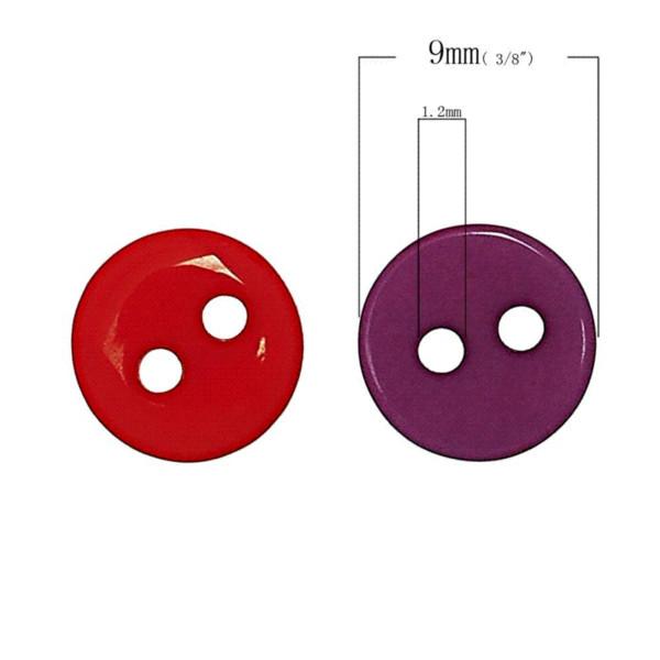 Reçine Dikiş Düğmeler Scrapbooking Yuvarlak 2 Delik Karışık 9mm (3/8