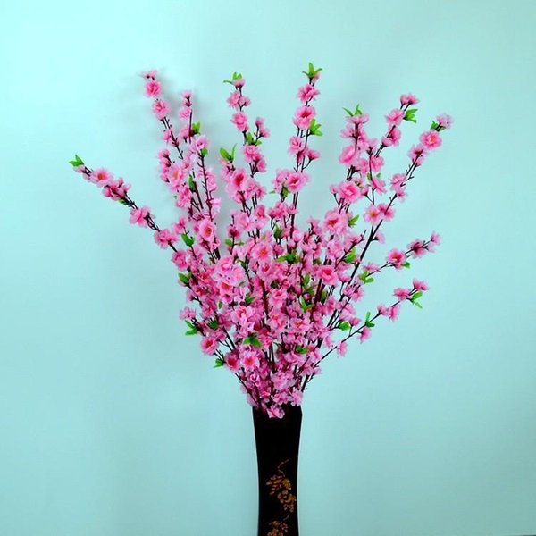 Newest Elegant Peach Blossom Silk Flowers Artificial Peach Branches Christmas Ornament Bouquet Wedding Centerpieces Decorations Supplies
