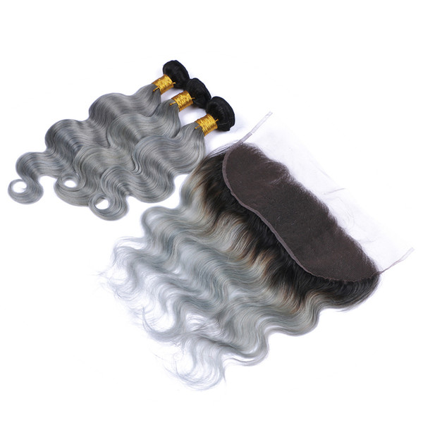 13x4 Full Lace Frontals With Brazilian Virgin Body Wave Hair Bundles Ombre #1B/Grey Two Tone Hair Weaves With Lace Frontal 4Pcs/lot