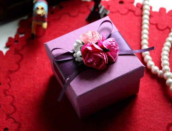 Purple Wedding Gift Boxes Flower Candy Boxes Wedding Favor Boxes Chocolate Box Paper Boxes Baby Shower Giftbox Free Shipping