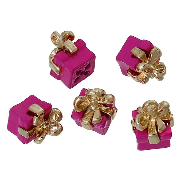 Boîte à pendentifs plaquée or Bowknot Fuchsia peinture à l'huile 11 mm (3/8