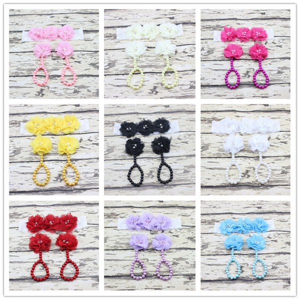 New Chiffon Flower Baby Feet Ring + Lace Headband Set Infant Toddler Photography Props Baby Barefoot Sandals Hairband Footwear 10sets B530