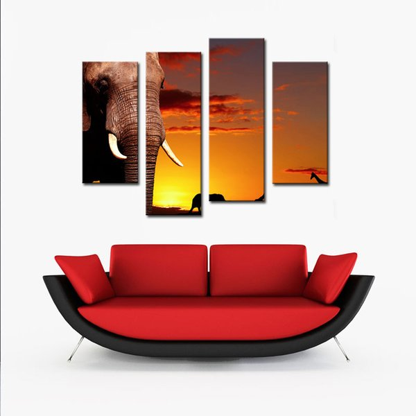 4 Panels Canvas Wall Art Elephant Picture Animal Paintings Sunset Background Art For Modern Home Decoration With Wooden Framed