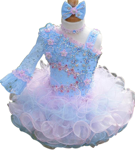 Hot Sale Cute Little Baby Girl Short Pageant Dress Hand Made Flower With Straps Beadings Glitz Mini Toddler Cupcake Skirts
