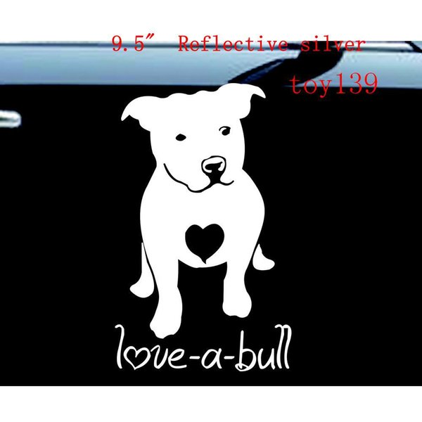 PITBULL Love A Bull Truck Laptop Rescue Dog Heart Car wall Decal Vinyl Sticker / reflective silver