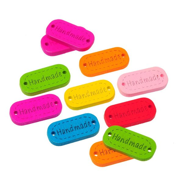 Wholesale Carved Handmade with A Rectangular Two holes Wooden Button 24x12mm 100pcs Wood Buttons