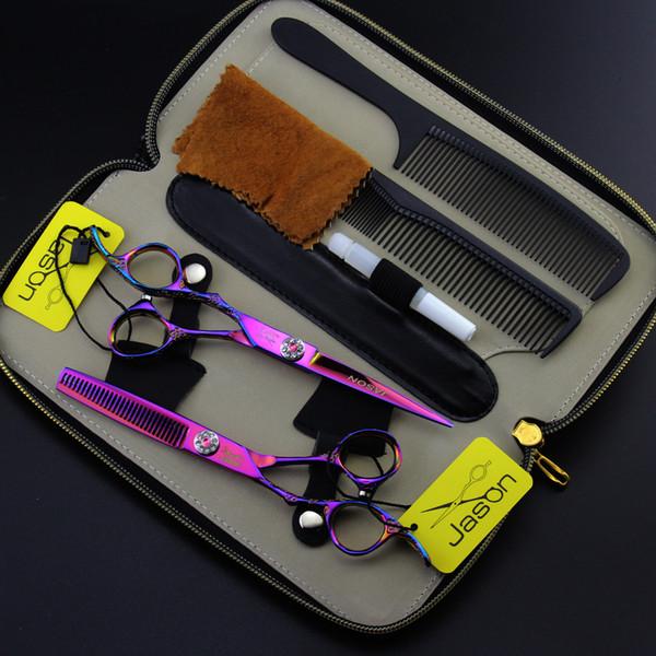 359 # One Set Suit Mano izquierda 6.0 '' 17.5cm Marca Jason Tijeras de peluquería Tijeras de corte Tijeras de adelgazamiento Tijeras de pelo humano profesional