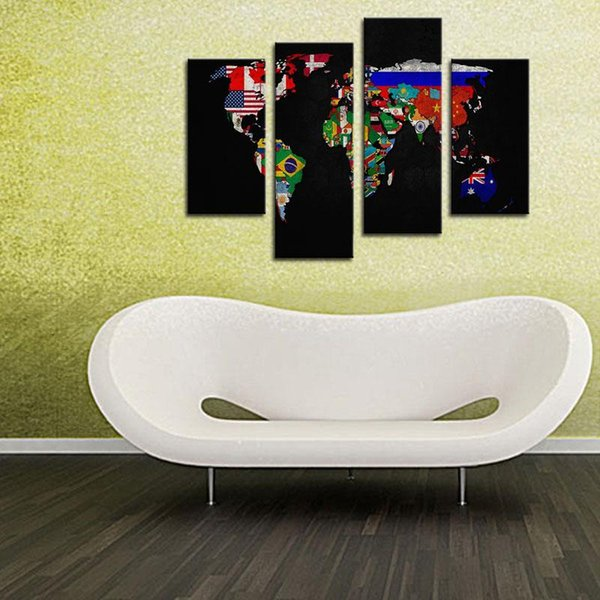 4 Pieces World Map Painting Print on Canvas Wall Art Painting Flag in World Map The Picture Wall Art For Living Room Home Decor Unframed