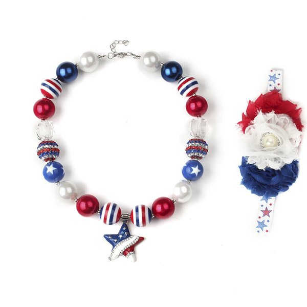 Kids American flag style necklace +flowers headband 2pcs set Children toddler jewelry set Baby girls Alloy 5star necklace